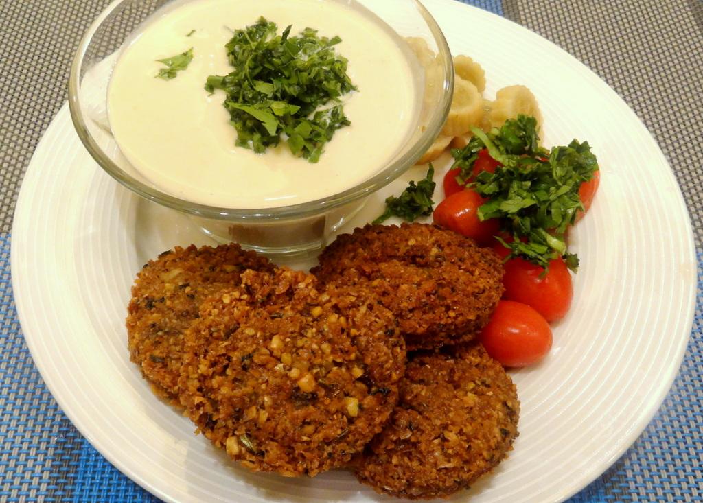 ... sauce baked sweet potato falafel crunchy red swiss chard falafel