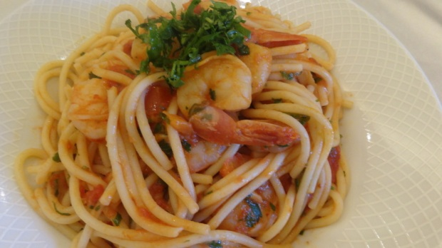 Spaghetti with spicy shrimp